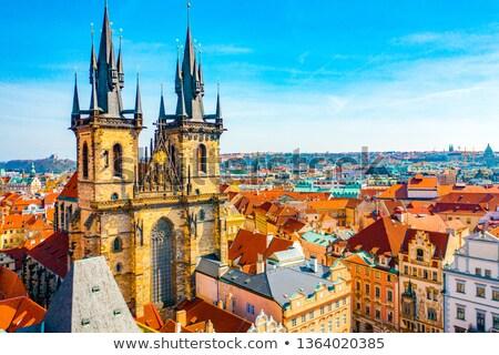 Praga rua acima catedral vermelho telhados Foto stock © Givaga