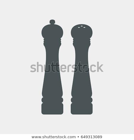 sal · pimenta · branco · vetor · mão · vidro - foto stock © kyryloff