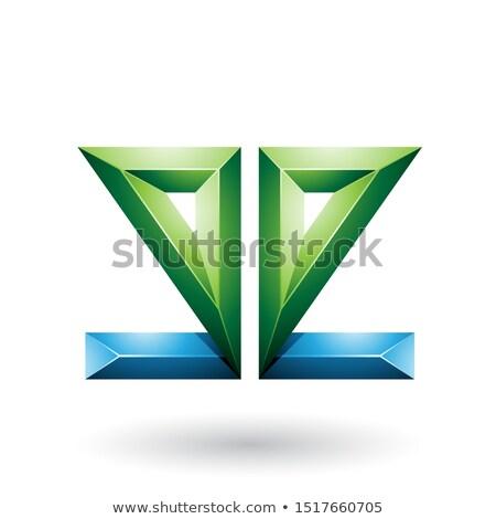 Stockfoto: Blauw · groene · 3D · meetkundig · verdubbelen