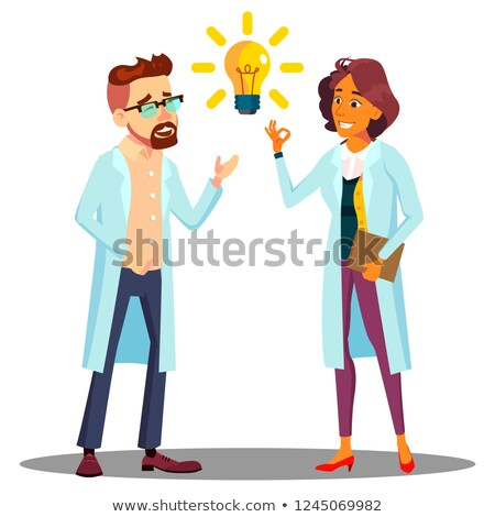 doctor man woman found answer solution idea light bulb above head vector isolated cartoon illus stock photo © pikepicture