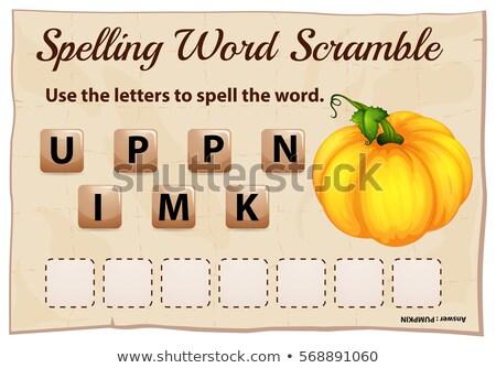 Spelling word scramble template with word pumpkin Stock photo © colematt