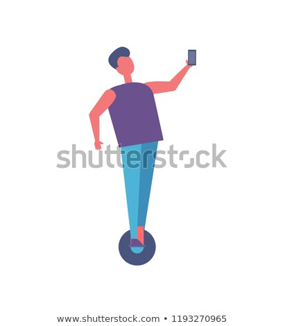 Boy Riding on Unicycle in Park Cartoon Vector Icon Stock photo © robuart
