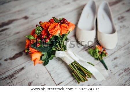 buquê · de · casamento · dama · de · honra · sapatos · marrom · rosa · feliz - foto stock © ruslanshramko