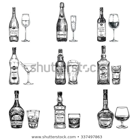 ilustração · copo · de · vinho · garrafa · monte · uvas - foto stock © rastudio