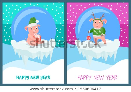 Happy new year verre vecteur porc animaux Photo stock © robuart
