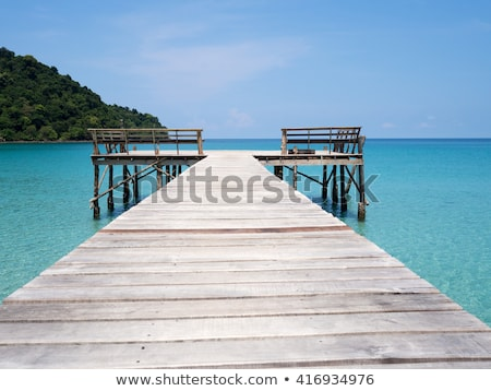 Scene with bridge over the ocean Stock photo © colematt