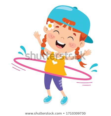 Happy girl playing Hula Hoop Stock photo © bluering
