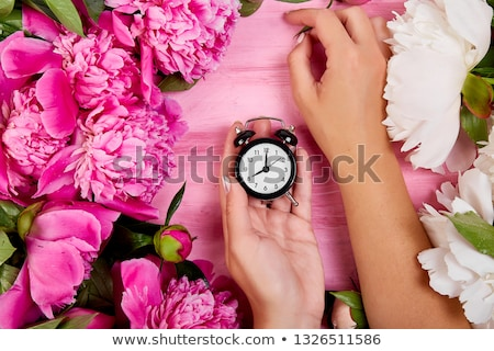 Florist at work, Hands of woman hold alarm clock. stock photo © Illia