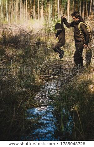 два мальчики кемпинга из лесу иллюстрация Сток-фото © colematt