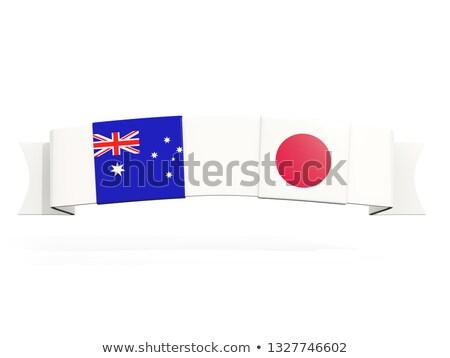 Banner dos cuadrados banderas Japón Australia Foto stock © MikhailMishchenko