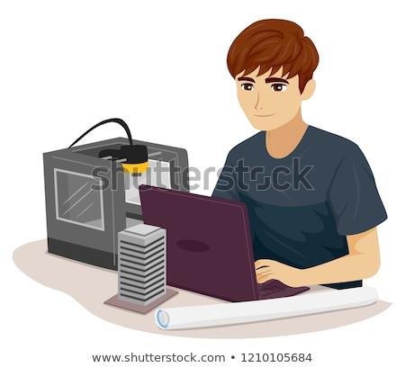 Teen jongen burgerlijk ingenieur print 3d illustration Stockfoto © lenm