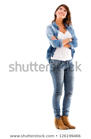 Beautiful woman with pensive look isolated on white. Stock photo © ajn