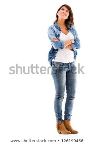 Foto stock: Bela · mulher · pensativo · veja · isolado · branco · triste