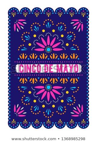 Happy Cinco de Mayo card of mexican paper cut flag Stock photo © cienpies
