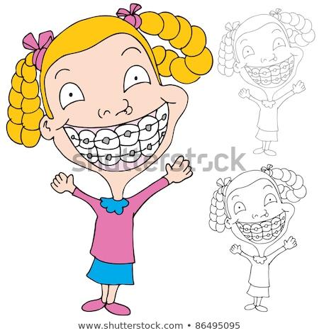 Vicces fekete lány fogászati fogszabályozó rajz Stock fotó © zkruger