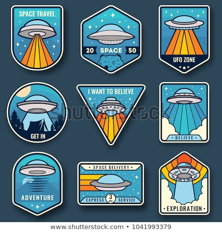 Kleur vintage ufo embleem stijl ontwerp Stockfoto © netkov1