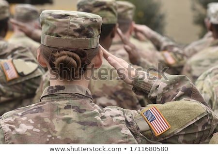 Askeri adam bayrak siluet genç Stok fotoğraf © AndreyPopov