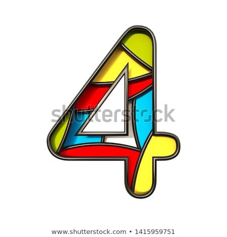 Színes papír kivágás betűtípus szám négy 3D Stock fotó © djmilic