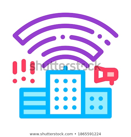 Building With Radiowaves Vector Thin Line Icon Stock photo © pikepicture