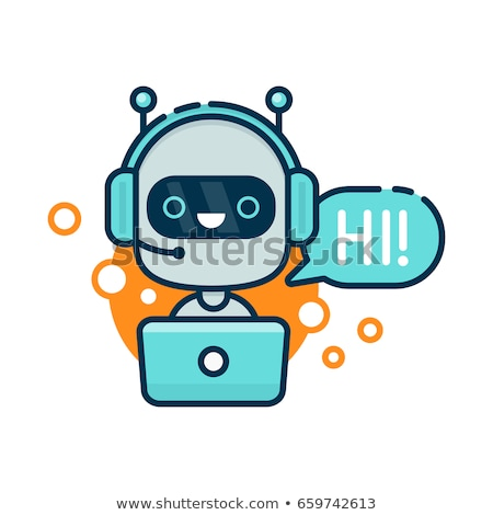 Cute robot as online chatbot or voice support service bot Stock photo © ussr