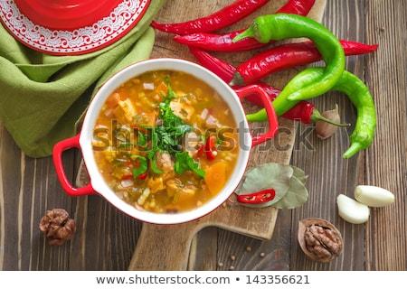 kom · gekruid · Mexicaanse · soep · rustiek · voedsel - stockfoto © alex9500