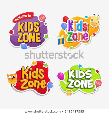 Gyerekek címke szöveg szalag felirat vektor Stock fotó © Andrei_