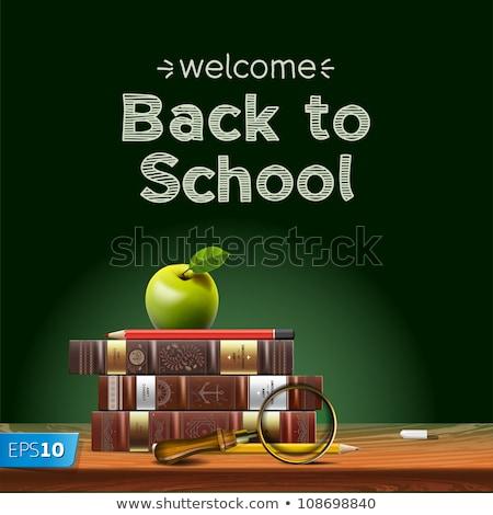vissza · az · iskolába · matricák · könyvek · háttér · háló · utazás - stock fotó © robuart
