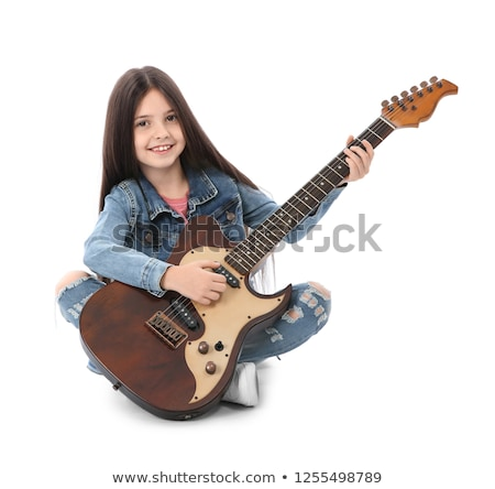 Cute young girl playing the electric guitar Stock photo © Giulio_Fornasar