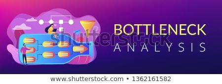 анализ баннер крошечный деловые люди бутылку Сток-фото © RAStudio