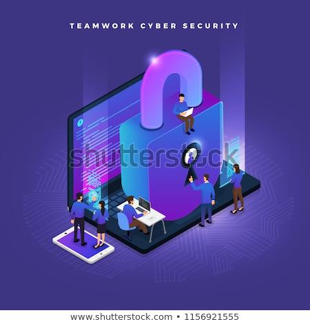 Isométrica trabalho em equipe pessoas negócio segurança ícones Foto stock © frimufilms