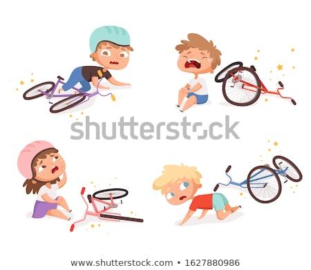 Kerékpáros törött bicikli izolált illusztráció szomorú Stock fotó © tiKkraf69