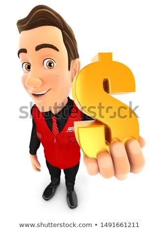 3D eladó tart arany dollárjel illusztráció Stock fotó © 3dmask
