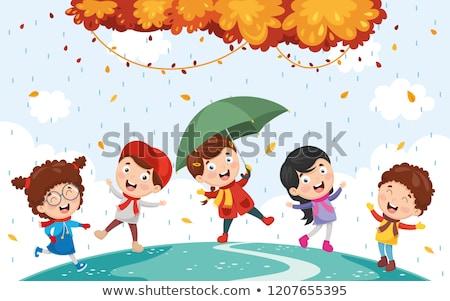 Feuille saison saison d'automne fille enfant amusement Photo stock © Lopolo