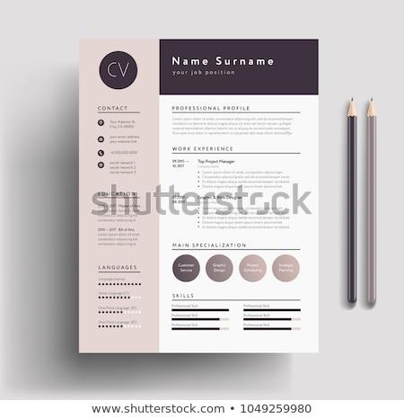 Minimalist light resume cv template Stock photo © orson