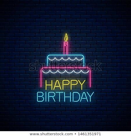Gloed wenskaart cake kaarsen gelukkige verjaardag opschrift Stockfoto © lissantee
