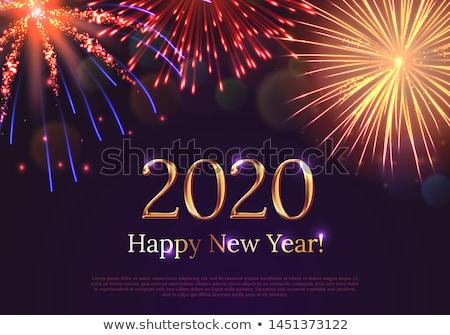 Yılbaşı havai fişek göstermek happy new year mavi gece Stok fotoğraf © solarseven