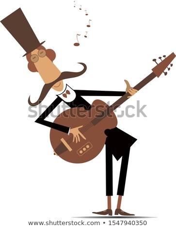 Cartoon долго усы гитарист играет музыку Сток-фото © tiKkraf69