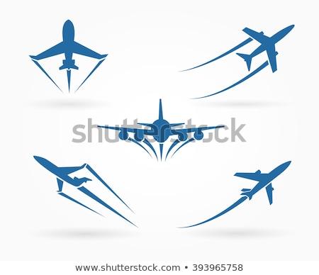 voador · para · cima · avião · grande · avião · aeroporto - foto stock © microolga
