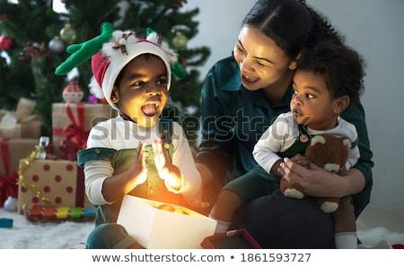 Kinderen christmas jongen meisje leuk vloer Stockfoto © ElenaBatkova