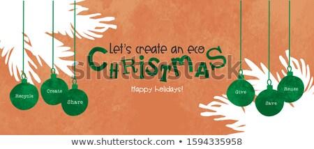 Heiter Weihnachten Karte Spielerei Stock foto © cienpies