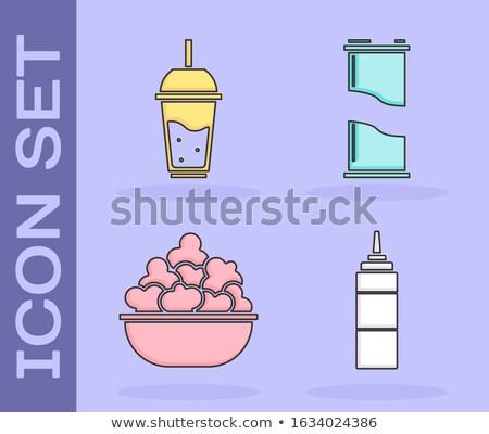 Limonade sap glas flessen popcorn partij Stockfoto © dolgachov