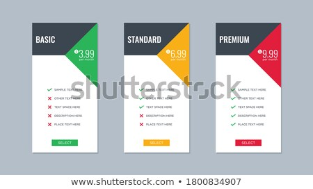 geometric style price table comparison boxes vector Stock photo © SArts
