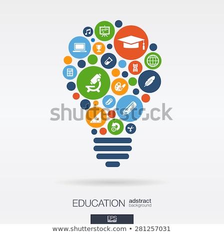 Tanít online oktatás színes vektor brosúra sablon Stock fotó © Decorwithme