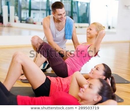 Foto stock: Homem · mulher · estômago · abdominal · juntos · núcleo