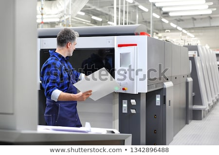 Munkások nyomtatás növény hátsó nézet zöld mozog Stock fotó © pressmaster