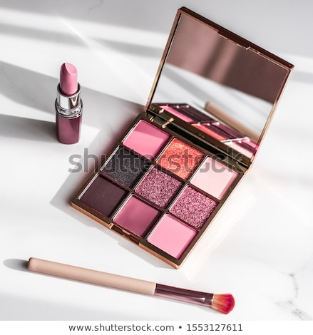 Cosmetics, makeup products set on marble vanity table, lipstick, Stock photo © Anneleven