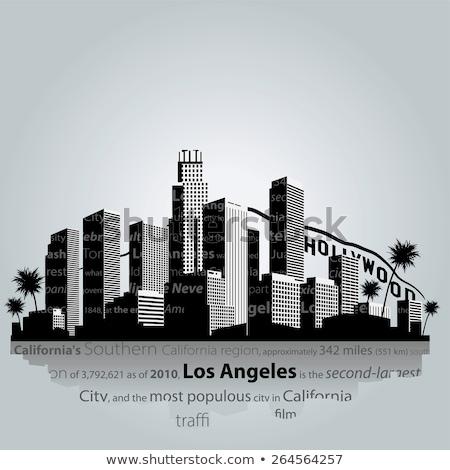 Los Angeles City skyline black and white silhouette Stock photo © ShustrikS