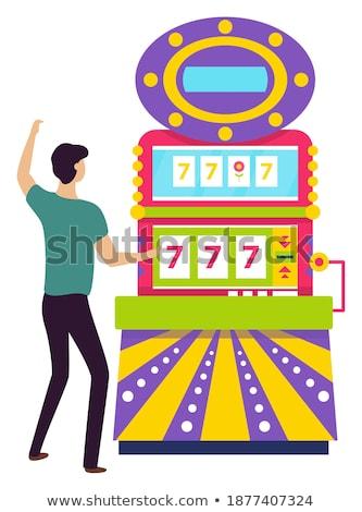 Man Spinning Fortune Wheel, Lucky Gambler Gambling Stock photo © robuart