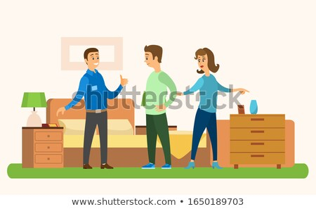 People in Furniture Store, Bed and Bedside Tables Stock photo © robuart