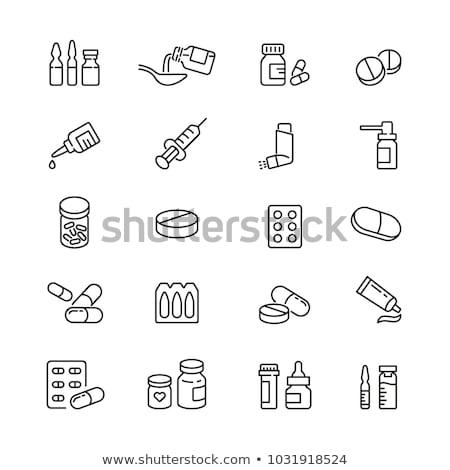 Fles capsules icon vector schets illustratie Stockfoto © pikepicture